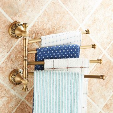 European Retro Bathroom Products Accessories Copper Art Carving Pattern Rotate Four Bar Towel