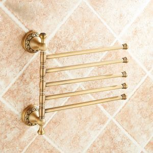 European Retro Bathroom Products Bathroom Accessories Copper Art Carving Pattern Rotate Five-bar Towel Bar