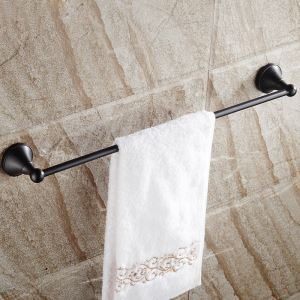 European Style Bathroom Products Bathroom Accessories Copper Art Black Retro Single Rod Towel Bar