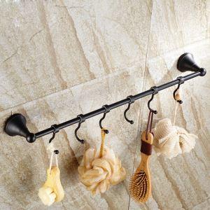 European Style Bathroom Products Bathroom Accessories Copper Art Black Retro Single Rod Towel Bar With Hook