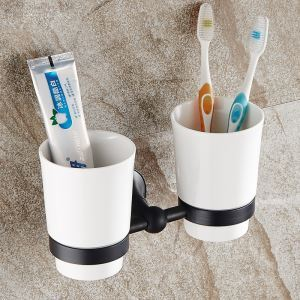 European Style Bathroom Products Bathroom Accessories Copper Art Black Retro Double Cup Toothbrush Holder