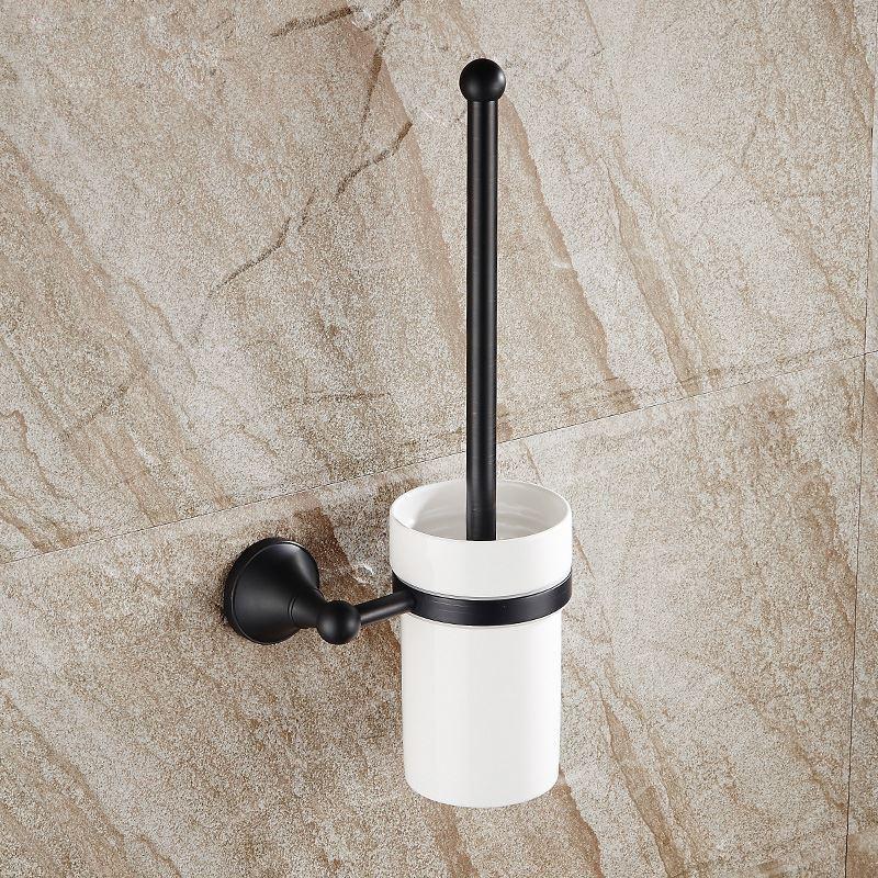 Bathroom toilet brush holder european style bathroom for Black and cream bathroom accessories