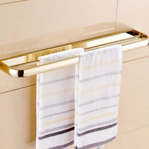 Modern Simple Style Bathroom Products Bathroom Accessories Copper Art Gold Double Rod Towel Bar