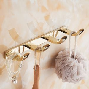 Modern Simple Style Bathroom Products Bathroom Accessories Copper Art Gold Robe Hook 4 Hook