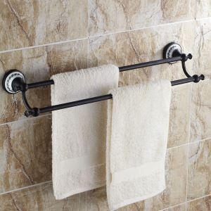 European Style Bathroom Products Bathroom Accessories Copper Art Retro Double Rod Towel Bar