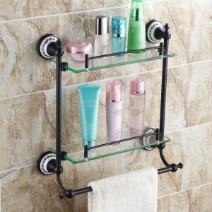 European Style Bathroom Products Bathroom Accessories Copper Art Retro Double Layer Bath Shelf