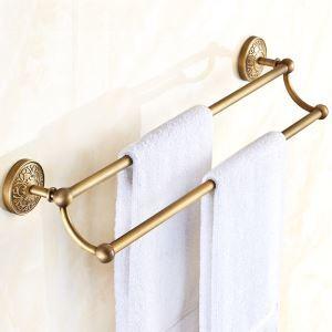 European Retro Style Bathroom Products Bathroom Accessories Copper Art Double Rod Towel Bar