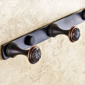 European Retro Style Bathroom Products Bathroom Accessories Copper Art Robe Hook 4 Hook