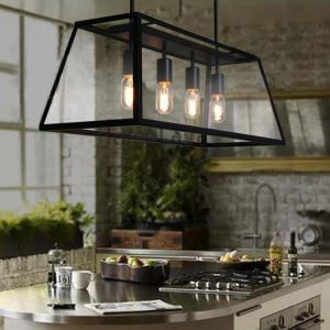 Black Chandelier Vintage Pendent Light with Transparent Ladder Style Shade Iron Indoor Lamp Decoration with  4 lights