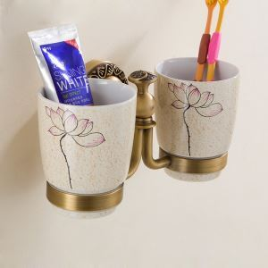 European Retro Style Bathroom Products Bathroom Accessories Copper Art Double Cups Toothbrush Cup Holder