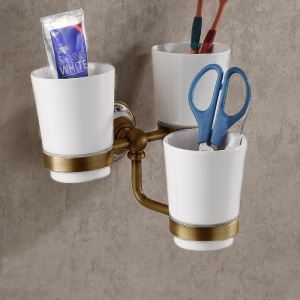 European Retro Style Bathroom Products Bathroom Accessories Copper Art Three Cups Toothbrush Cup Holder