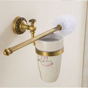 European Retro Style Bathroom Products Bathroom Accessories Copper Art Toilet Brush Holder(Two Types)