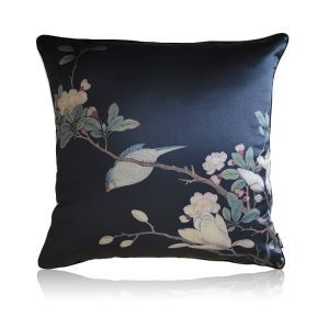 Chinese Style Flower And Bird Painting Black Silk Satin Pillow Cover