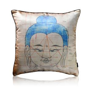 Chinese Style Buddha Statues Printing Satin Pillow Cover