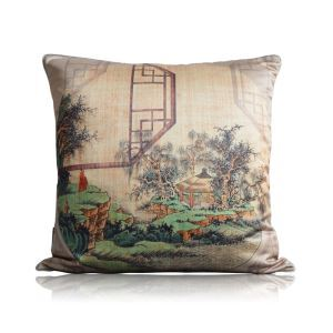 Chinese Style Landscape Painting Printing Satin Pillow