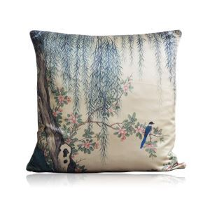 Chinese Style Landscape Painting Printing Satin Pillow Cover