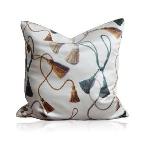 Modern Decorative Hanging Spike Pattern White Satin Double-sided Pillow