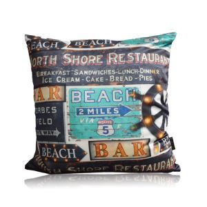 American Industrial Style Beach Bar Sign Pattern Satin Double-sided Pillow Cover