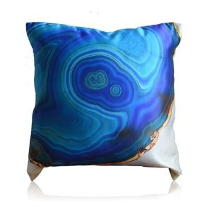 Modern Blue Agate Pattern Satin Printing Pillow Cover