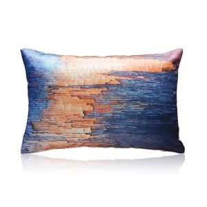 Modern Blue And Orange Gradient Wood Pattern Satin Printing Pillow Cover