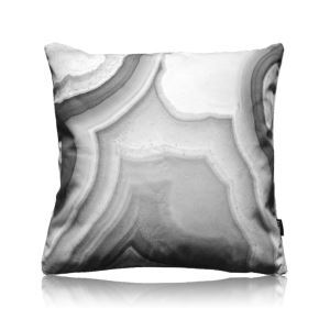 Modern Black And White Agate Pattern Satin Printing Pillow Cover