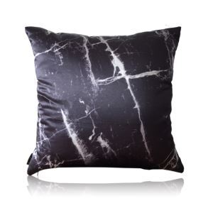 Modern Black And White Crackle Satin Printing Pillow Cover