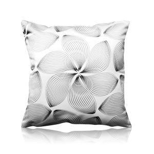 Modern Black And White Lines Petal Pattern Satin Printing Pillow