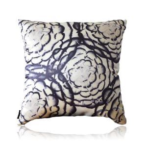 Modern Black And White Feather Pattern Satin Printing Pillow