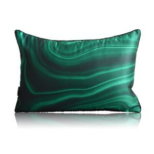 Modern Green Agate Stone Texture Satin Printing Lumbar Pillow Cover