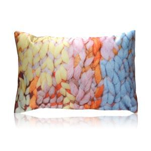 Modern Colorful Wool Knitting Texture Printing Satin Pillow