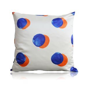 Modern Blue Orange Dot Pattern Satin Printing Pillow Cover