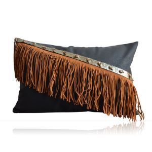 Modern Industrial Style Manual Tassel Like Leather Pillow