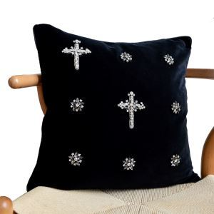 Modern Industrial Style Manual Inlaid Diamond Black Flannelette Pillow