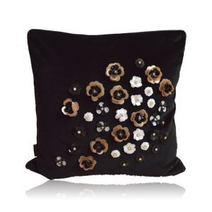 Modern Industrial Style Pure Hand-sequined And Beads Sewing Flowers Black Flannelette Pillow