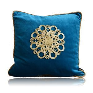 Modern Chinese Manual Rust Slice Blue Flannelette Pillow