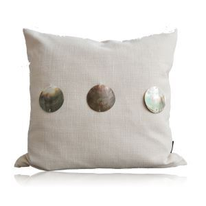 Modern Seashell Button Beige Linen Pillow