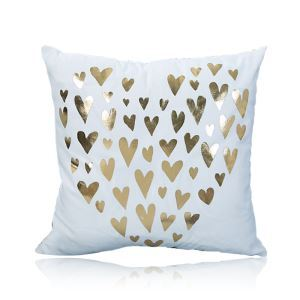 Modern Simple Super Soft Heart-shape Bronzing Scalding Silver Cotton And Linen Car Sofa Pillow