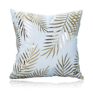 Modern Simple Super Soft Leaf Bronzing Scalding Silver Cotton And Linen Car Sofa Pillow