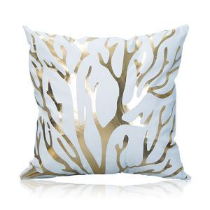 Modern Simple Super Soft Branches Bronzing Scalding Silver Cotton And Linen Car Sofa Pillow Cover