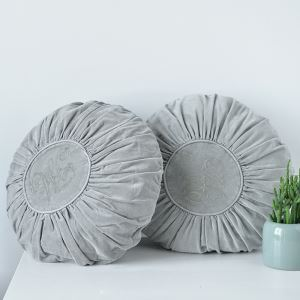 American Rural Circular Velvet Embroidered Pillow Light Gray With Three-dimensional Chemical Fiber Cotton Pillow Core