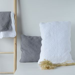 American Rural 100% Cotton Quilted Embroidered Pillowcases White Grey 53*75cm(21*30inch)