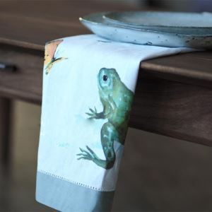 American Rural Cotton And Linen Frog Prints White Napkin Placemat