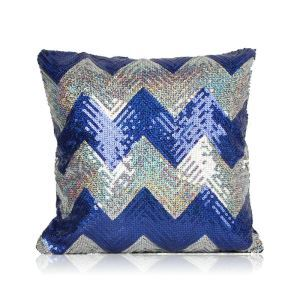 New Arrival Wave Pattern Sequin Sofa Car Nightclub Pillow Sapphire + Silver