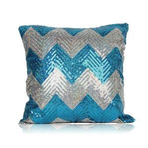 New Arrival Wave Pattern Sequin Sofa Car Nightclub Pillow Cover Lake Blue + Silver