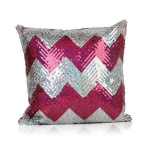 New Arrival Wave Pattern Sequin Sofa Car Nightclub Pillow Cover Roseo + Silver