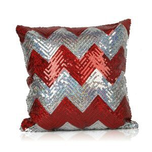 New Arrival Wave Pattern Sequin Sofa Car Nightclub Pillow Cover Red + Silver