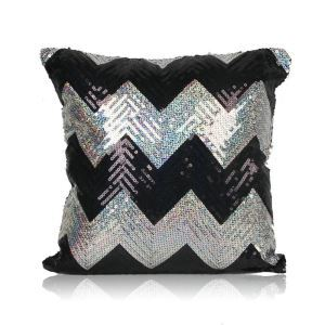 New Arrival Wave Pattern Sequin Sofa Car Nightclub Pillow Cover Black + Silver