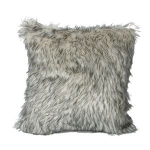 European Simple Faux Fur Fuzzy Light Grey Pillow Cover