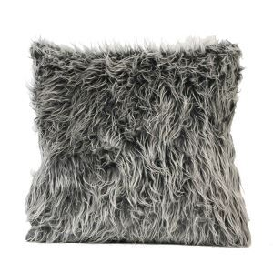 European Simple Faux Fur Fuzzy Dark Grey Pillow Cover