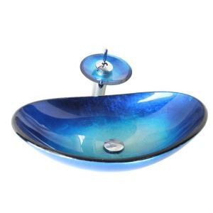 Modern Fashion Oval Blue Tempered Glass Vessel Sink With Waterfall Faucet Mounting Ring and Water Drain Set
